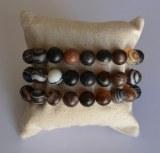 Bracelet Agate du Botswana - Perles 10mm dépoli