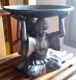 3 bouddhas sous assiette - Bois - H19cm - 1.040kg
