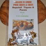 Collier en ambre pour chiens et chats (19cm + 4cm chainette tour de cou)