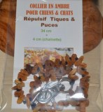 Collier en ambre pour chiens et chats (34cm + 4cm chainette tour de cou)