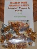 Collier en ambre pour chiens et chats (44cm + 4cm chainette tour de cou)