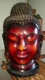 Lampe en tête de Bouddha rouge - H 33cm - 1.160kg
